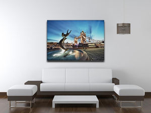 Tower Bridge and St Katharine Docks Girl Canvas Print or Poster - Canvas Art Rocks - 4