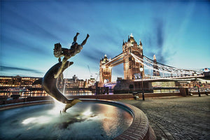 Tower Bridge and St Katharine Docks Girl Wall Mural Wallpaper - Canvas Art Rocks - 1