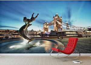 Tower Bridge and St Katharine Docks Girl Wall Mural Wallpaper - Canvas Art Rocks - 2