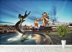 Tower Bridge and St Katharine Docks Girl Wall Mural Wallpaper - Canvas Art Rocks - 4