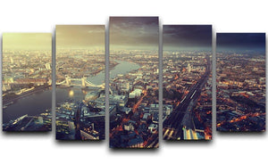 Tower Bridge in sunset time 5 Split Panel Canvas  - Canvas Art Rocks - 1