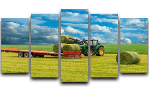 Tractor and trailer with hay bales 5 Split Panel Canvas  - Canvas Art Rocks - 1