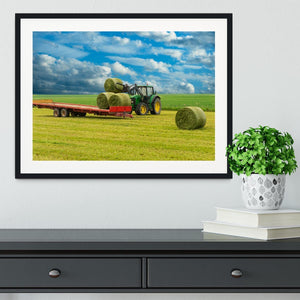 Tractor and trailer with hay bales Framed Print - Canvas Art Rocks - 1