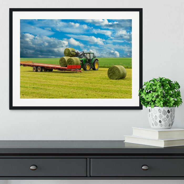 Tractor and trailer with hay bales Framed Print