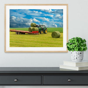 Tractor and trailer with hay bales Framed Print - Canvas Art Rocks - 3