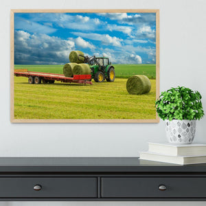 Tractor and trailer with hay bales Framed Print - Canvas Art Rocks - 4
