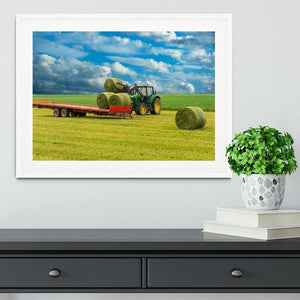Tractor and trailer with hay bales Framed Print - Canvas Art Rocks - 5