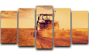 Tractor in sunset 5 Split Panel Canvas  - Canvas Art Rocks - 1