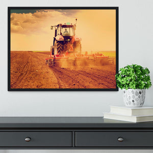 Tractor in sunset Framed Print - Canvas Art Rocks - 2