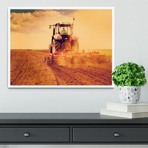 Tractor in sunset Framed Print - Canvas Art Rocks -6