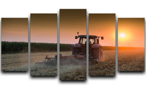 Tractor plowing field at dusk 5 Split Panel Canvas  - Canvas Art Rocks - 1