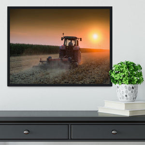 Tractor plowing field at dusk Framed Print - Canvas Art Rocks - 2