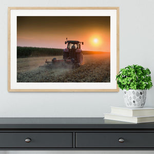 Tractor plowing field at dusk Framed Print - Canvas Art Rocks - 3