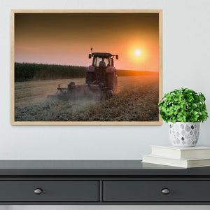 Tractor plowing field at dusk Framed Print - Canvas Art Rocks - 4