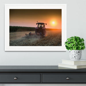 Tractor plowing field at dusk Framed Print - Canvas Art Rocks - 5
