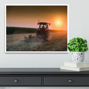 Tractor plowing field at dusk Framed Print - Canvas Art Rocks -6
