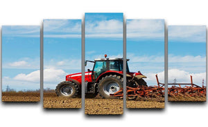 Tractor plowing the field 5 Split Panel Canvas  - Canvas Art Rocks - 1