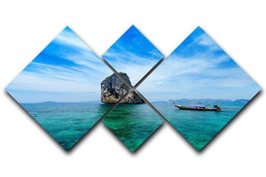 Traditional Thai boat in the blue sea 4 Square Multi Panel Canvas  - Canvas Art Rocks - 1