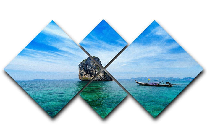 Traditional Thai boat in the blue sea 4 Square Multi Panel Canvas