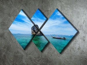 Traditional Thai boat in the blue sea 4 Square Multi Panel Canvas  - Canvas Art Rocks - 2