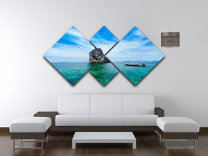 Traditional Thai boat in the blue sea 4 Square Multi Panel Canvas  - Canvas Art Rocks - 3