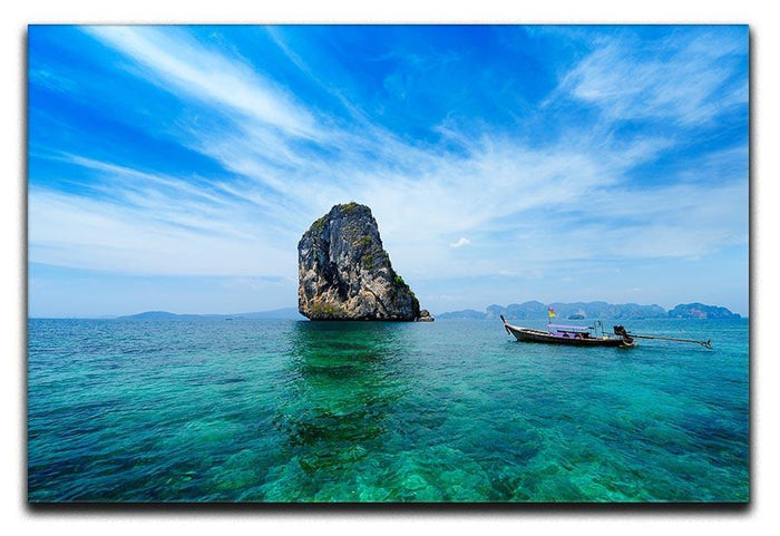 Traditional Thai boat in the blue sea Canvas Print or Poster