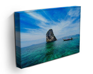 Traditional Thai boat in the blue sea Canvas Print or Poster - Canvas Art Rocks - 3