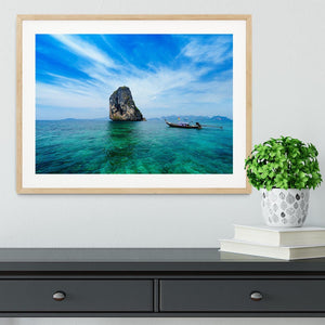 Traditional Thai boat in the blue sea Framed Print - Canvas Art Rocks - 3