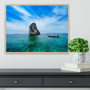 Traditional Thai boat in the blue sea Framed Print - Canvas Art Rocks - 4