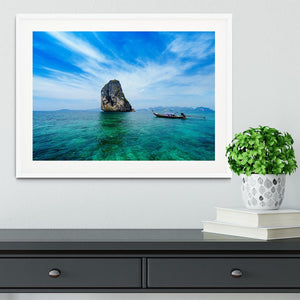 Traditional Thai boat in the blue sea Framed Print - Canvas Art Rocks - 5