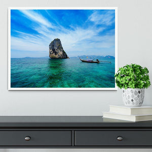 Traditional Thai boat in the blue sea Framed Print - Canvas Art Rocks -6