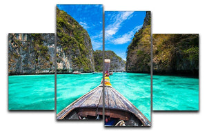 Traditional wooden boat 4 Split Panel Canvas - Canvas Art Rocks - 1