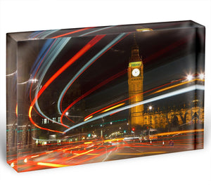 Traffic in night London Acrylic Block - Canvas Art Rocks - 1