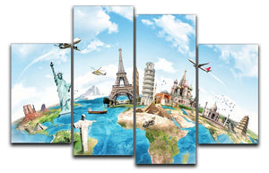 Travel the world 4 Split Panel Canvas  - Canvas Art Rocks - 1