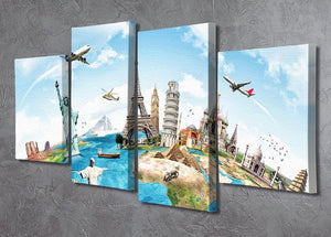 Travel the world 4 Split Panel Canvas  - Canvas Art Rocks - 2