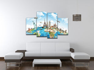 Travel the world 4 Split Panel Canvas  - Canvas Art Rocks - 3
