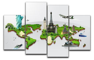Travel the world concept 4 Split Panel Canvas  - Canvas Art Rocks - 1