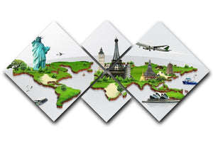 Travel the world concept 4 Square Multi Panel Canvas  - Canvas Art Rocks - 1