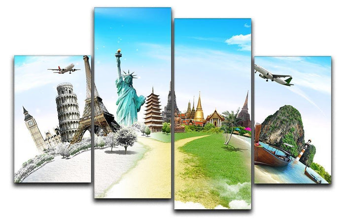 Travel the world monument 4 Split Panel Canvas