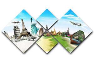 Travel the world monument 4 Square Multi Panel Canvas  - Canvas Art Rocks - 1