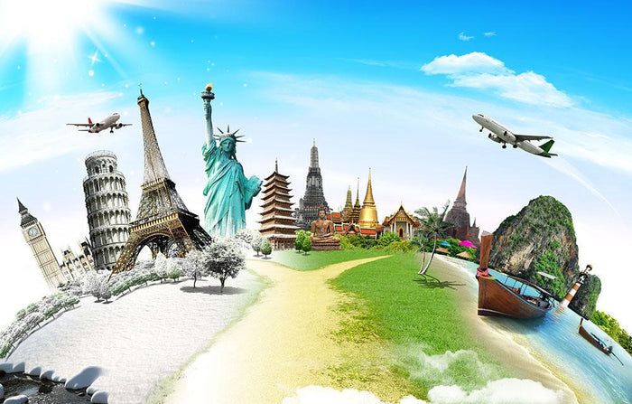 Travel the world monument Wall Mural Wallpaper
