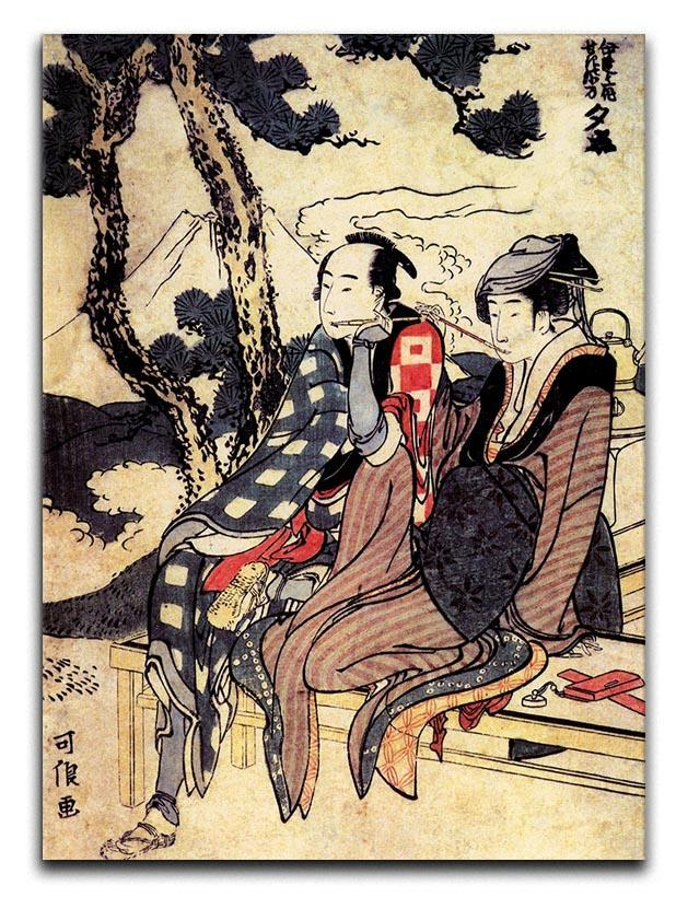 Traveling couple by Hokusai Canvas Print or Poster  - Canvas Art Rocks - 1