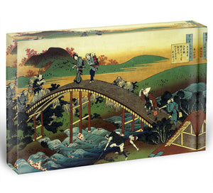 Travellers on the bridge near the waterfall of Ono by Hokusai Acrylic Block - Canvas Art Rocks - 1