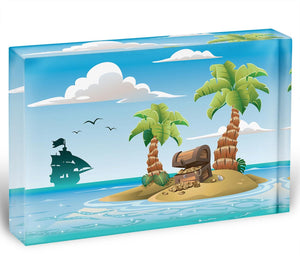 Treasure chest on the unhabited tropical island Acrylic Block - Canvas Art Rocks - 1
