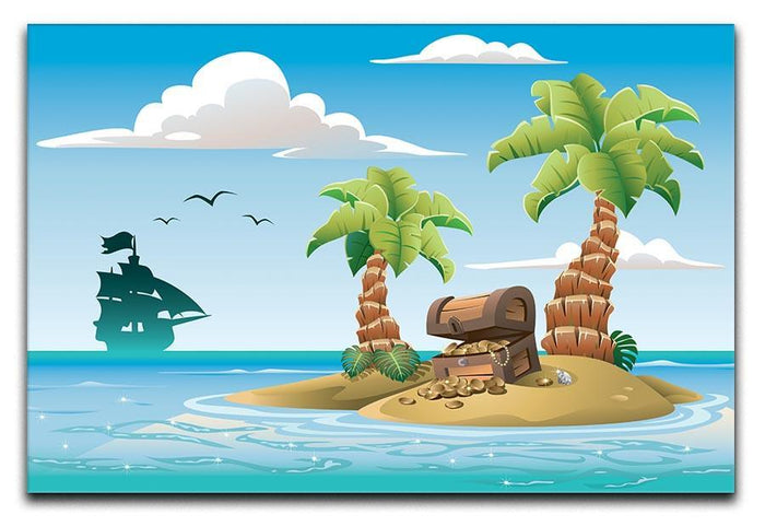 Treasure chest on the unhabited tropical island Canvas Print or Poster