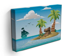 Treasure chest on the unhabited tropical island Canvas Print or Poster - Canvas Art Rocks - 3