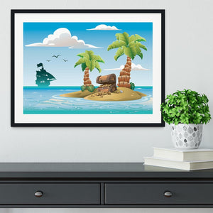 Treasure chest on the unhabited tropical island Framed Print - Canvas Art Rocks - 1