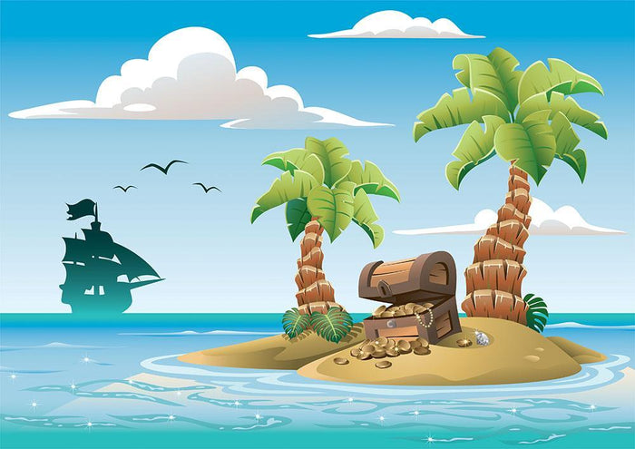 Treasure chest on the unhabited tropical island Wall Mural Wallpaper