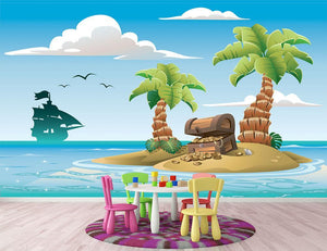 Treasure chest on the unhabited tropical island Wall Mural Wallpaper - Canvas Art Rocks - 2