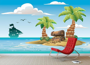 Treasure chest on the unhabited tropical island Wall Mural Wallpaper - Canvas Art Rocks - 3